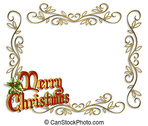 Christmas Border Frame 3D - Illustration composition for...