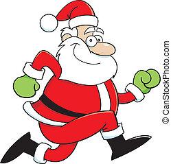 Cartoon Santa Claus running - Cartoon illustration of Santa...