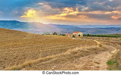 Tuscany landscape at sunset, Italy