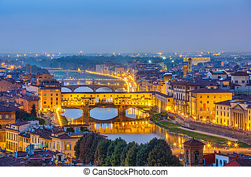 View on Arno river in Florence - Bridges over Arno river in...