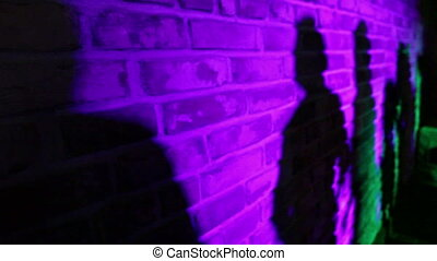 Dancing shadows on a brick wall
