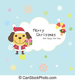 cartoon Xmas card with a dog