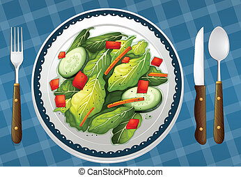 a food and a dish - illustration of a food and a dish on a...