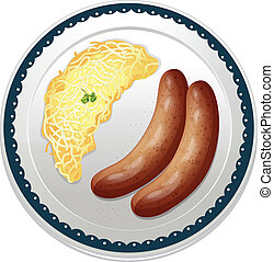 Sausages and spaetzle - illustration of sausages and...