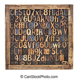 vintage wood type printing blocks - letters, numbers,...