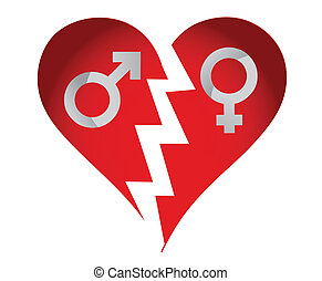 male and female heart
