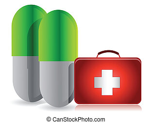 pills and medical kit illustration design over white