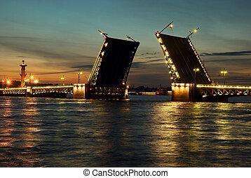 White nights. St.Petersburg, Russia. - View of Neva river...