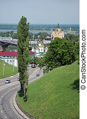 Nizhny Novgorod, Russia - View on the road, monastery and...