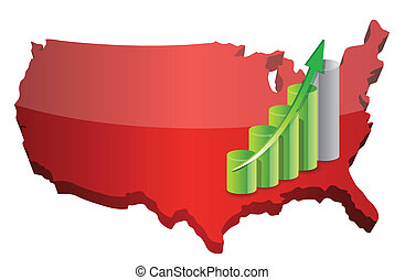 US business graph illustration