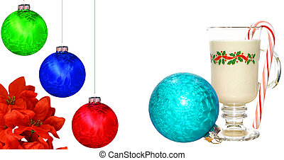 A cold glass of eggnog on white with a peppermint candy cane in it, a poinsettia flower and Christmas Balls with room for your text.