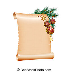 Christmas blank scroll paper on white background - Old blank...
