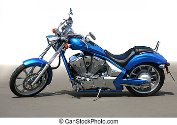 motorcycle on asphalt - blue beautiful powerful motorcycle...