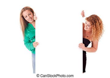 Women - Beautiful young women holding a blank white board