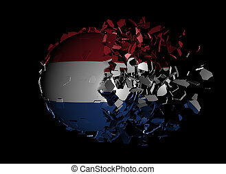 Dutch flag sphere breaking apart illustration