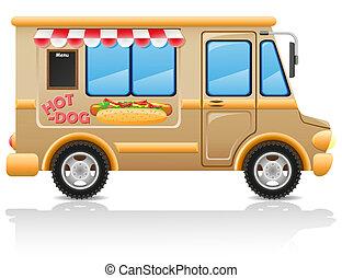 car, quentes, cão, rapidamente, alimento, Ilustração