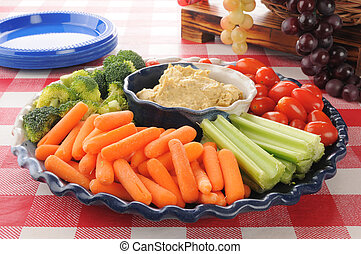 Healthy vegetable tray on a picnic table
