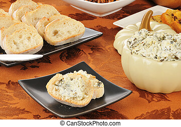 Spinach artichoke dip on Italian bread