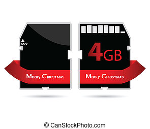 SD card with special red ribbon and Merry Christmas text