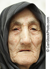 Old woman face - Very old woman face closeup portrait