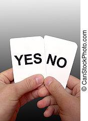 Decision cards 3 - Two yes-no cards in hands on a grey...