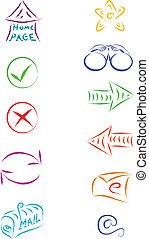 web icons - sketch vector of web internet icons