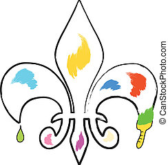 fleur de lis - abstract fleur de lis painting with brush