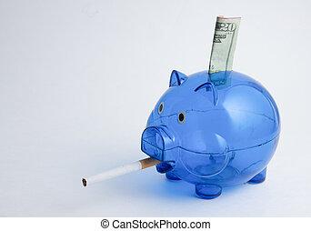 Twenty Dollar Bill Smoking Piggy Bank - A blue piggy bank...
