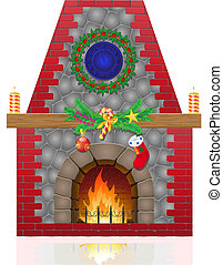 fireplace with christmas decorations illustration isolated...