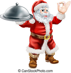 Santa Chef - An illustration of Santa Claus doing a chef's...