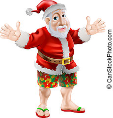 Cartoon beach Santa - Summer Santa in beach wear, long board...