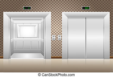 two elevator doors open and closed illustration