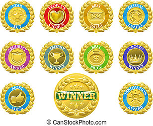 Winners medals - Golden winners medals like those used for...
