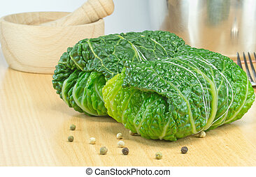 Savoy Cabbage Rolls - Savoy cabbage rolls stuffed and tied...