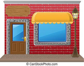 shop facade with a showcase illustration