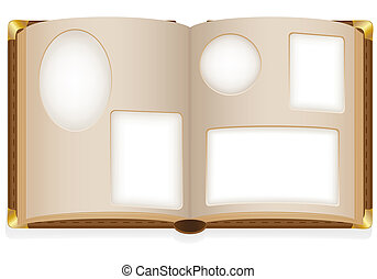 old open photo album with blank photos illustration isolated...