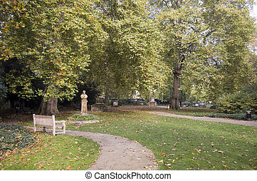 St Georges Gardens, Bloomsbury - The former burial ground...