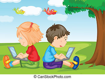 kids with laptop under a tree