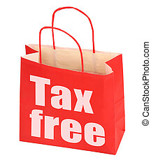 red paper bag with tax free sign on white background, photo...