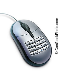 Modern, computer mouse with keyboard