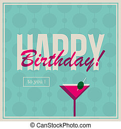Birthday card for woman with cockta
