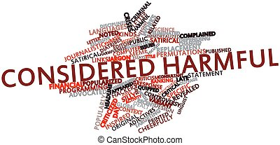 Considered harmful - Abstract word cloud for Considered...