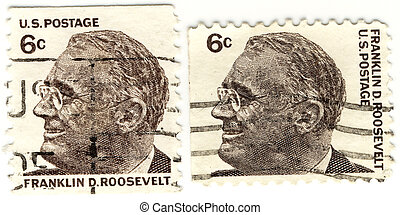 a vintage stamps with 32s president of USA - Franklin...