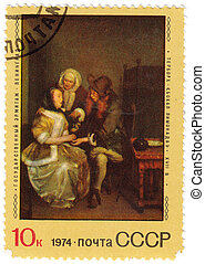 USSR - CIRCA 1974 : stamp printed in USSR shows paint by...