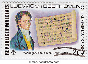 月光, 馬爾代夫, 搬運車, 1801, 手稿, 1977, circa, -, 年, 郵票, 貝多芬, 列印,...