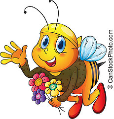honey bee - illustration of honey bee on a white background