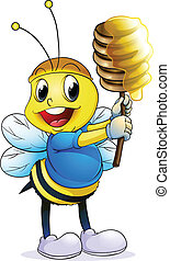 honey bee - illustration of honey bee on a white background