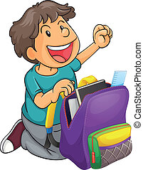 a boy with school bag - illustration of a boy with school...