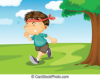 a boy running outside