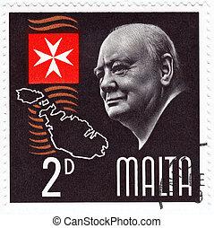 MALTA - CIRCA 1990: Stamp printed in Malta shows Winston Churchill great prime minister in UK, circa 1990